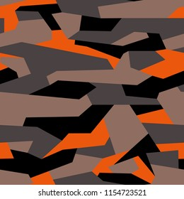 Camouflage geometric military seamless pattern. Abstract modern fabric and fashion texture background. Vector illustration.