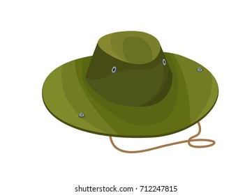 Camouflage hat isolated icon in cartoon style, green clothing for travelling, camping, hunting vector illustration