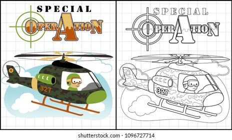 Camouflage helicopter, coloring page or book, vector cartoon illustration