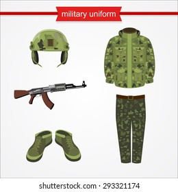 Camouflage, helmet, headphones and jacket. Vector illustration of military uniform. War icon. Military helmet, jacket, pants and shoes. Machine gun isolated. Uniform element for soldier.