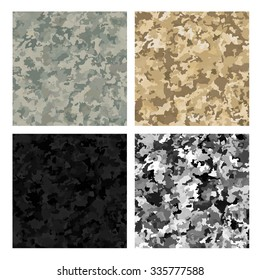 Camouflage military backgrounds set. Abstract patterns. Vector illustration EPS10