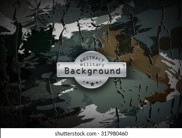 Camouflage military pattern with cracks background. Vector illustration, EPS
