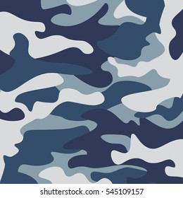 Camouflage pattern background. Classic clothing style masking camo repeat print. Blue, navy cerulean grey colors forest texture. Design element. Vector illustration.