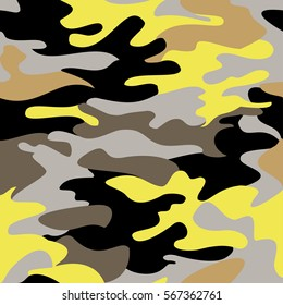 Camouflage pattern background seamless clothing print, repeatable camo glamour bright vector. Yellow, black, gray