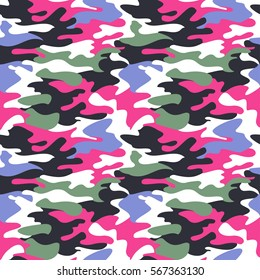 Camouflage pattern background seamless clothing print, repeatable camo glamour vector. Pink, navy, white, green