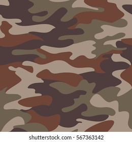 Camouflage pattern background seamless clothing print, repeatable camo glamour vector. Olive, brown, gray