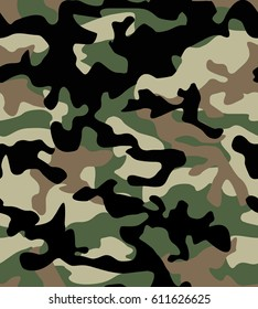 Camouflage pattern background seamless. Green brown color Vector editable file.