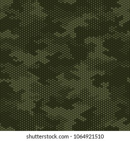 Camouflage pattern background seamless vector illustration. Military fashionable abstract geometric modern texture. Hexagonal technology print.