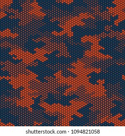 Camouflage pattern background seamless vector illustration. Fashionable abstract geometric modern texture. Hexagonal digital technology print. Orange honeycomb urban style.