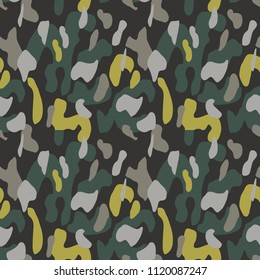 Camouflage pattern background seamless vector illustration. Classic military clothing style. Camo repeat texture shirt print. Grey khaki black yellow colors forest texture
