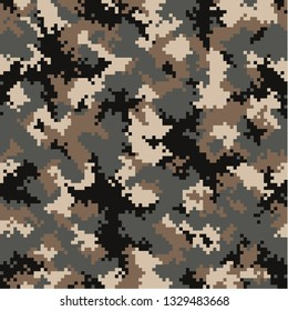 Camouflage pattern background seamless vector illustration. Fashionable abstract geometric modern texture. Pixel fabric in black and brown colors. Glamour military digital print for textile and cloth.