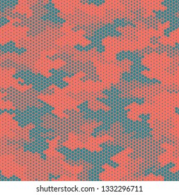 Camouflage pattern background seamless vector illustration. Fashionable abstract geometric modern texture. Fabric in color, living coral. Hexagonal digital technology print. Pink honeycomb.