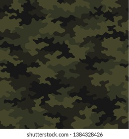 Camouflage pattern background seamless vector illustration. Jungle green military texture. Modern repeated camouflage pattern for fabric, shirt, wallpaper, fashion print, soldier, hunter's clothes.