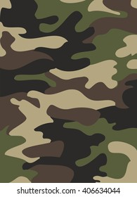 Camouflage pattern background. Woodland style. Vector illustration