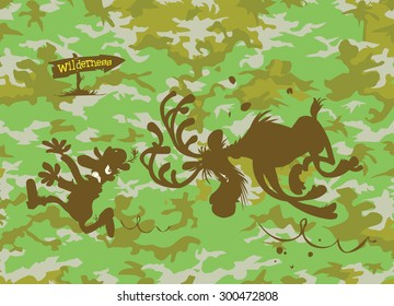 Camouflage pattern with a cartoon Moose chasing Hunter.