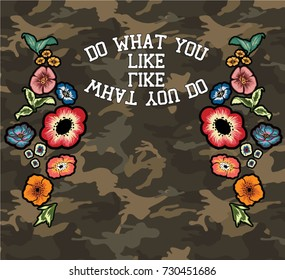 camouflage pattern with flowers embroidery reflect