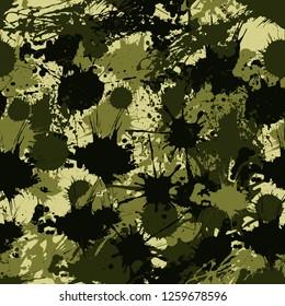 Camouflage Pattern Ink Paint Splashes Style Seamless Vector Illustration