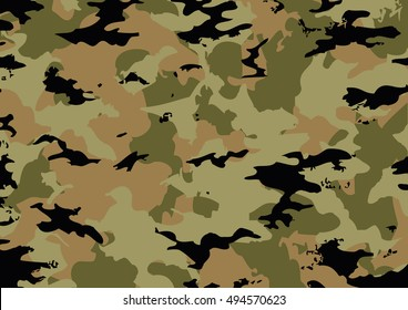 Camouflage pattern made with brown tones. vector illustration