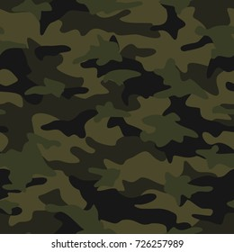 Camouflage pattern seamless background. Vector abstract fabric texture. Dark green forest camo illustration.
