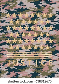 Camouflage pattern with stars in gold foil and justice text in vector.