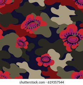 Camouflage with red flower and dot. camouflage for printed on the product. seamless floral camouflage graphic for digital print seamless vector flower camouflage pattern.