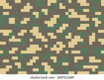 Camouflage repeating green pixel elements. Seamless texture, Vector illustration, background.