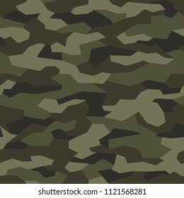 Camouflage seamless pattern. Abstract geometric military and hunting camo texture background. Vector illustration.