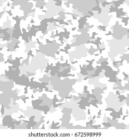 Camouflage seamless pattern. Abstract light monochrome background vector.