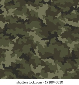 Camouflage seamless pattern. Abstract military camo background for army and hunting textile print. Vector illustration.