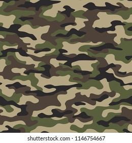 Camouflage seamless pattern. Abstract modern vector military backgound. Fabric textile print template. Vector illustration.