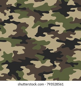 Camouflage seamless pattern. Abstract modern vector military backgound. Fabric textile print tamplate.