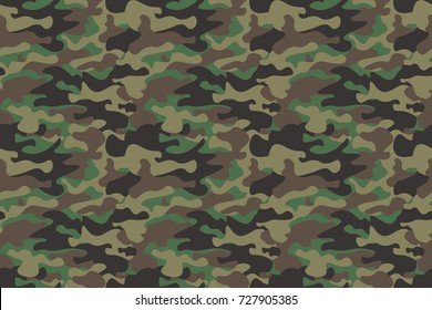 Camouflage seamless pattern background. Horizontal seamless banner. Classic clothing style masking camo repeat print. Green brown black olive colors forest texture. Design element,Vector illustration