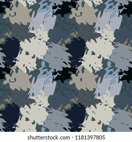 Camouflage seamless pattern. Background texture. Paint spots. Distressed, grunge print