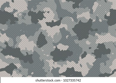 Camouflage seamless pattern with canvas mesh. Trendy urban camo, repeat print. Vector illustration.