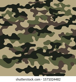 Camouflage seamless pattern classic military texture. Green Ornament. Vector
