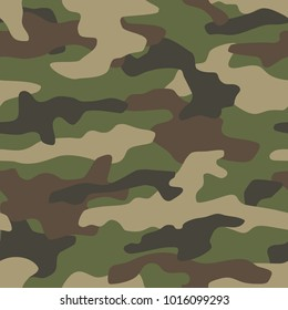Camouflage seamless pattern. Classic style masking camo repeat print. Vector illustration.