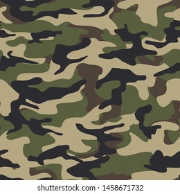 Camouflage seamless pattern Classic.Dark green and brown spots on a beige background.Military texture.Print on fabric on paper.Vector graphics
