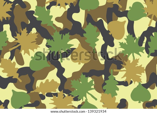 Camouflage seamless pattern. Foliage and branched shapes. Woodland colors.