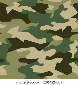 Camouflage seamless pattern with military geometric ornament. Abstract vector template with background for fabric and fashion.