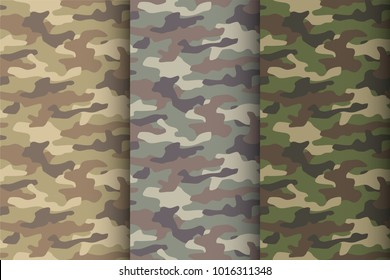 Camouflage seamless pattern set. Classic style masking camo repeat print. Vector illustration.
