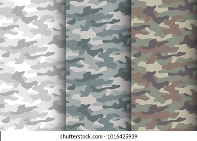 Camouflage seamless pattern set. Classic style masking camo, repeat print. Vector illustration.