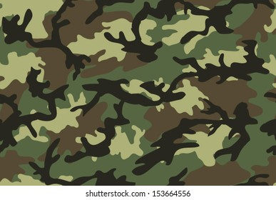 Camouflage seamless pattern. Shapes of foliage and branches. Woodland style
