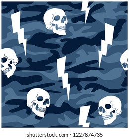 Camouflage seamless pattern. Skull drawing.Cute pattern for kids.Vector illustration design for fashion fabrics, textile graphics, print.