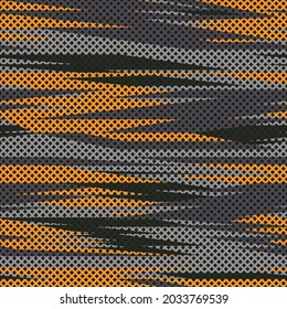 Camouflage seamless pattern spots and lines with a grid shapes. Abstract camo. Military texture. Print on fabric on clothes. Modern vector design