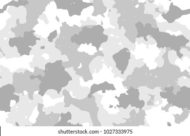 Camouflage seamless pattern. Trendy winter camo, repeat print. Vector illustration.