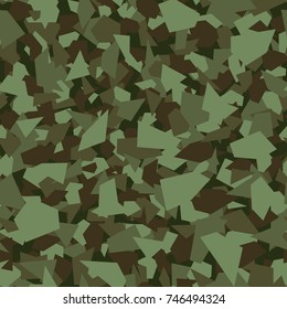 Camouflage seamless pattern. Vector geometric camo background with forest green chaotic texture.