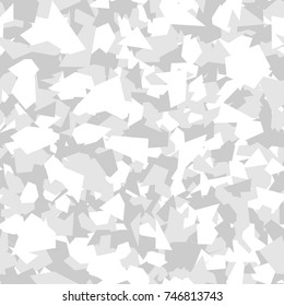 Camouflage seamless pattern. Vector geometric camo background with monochrome white chaotic texture.