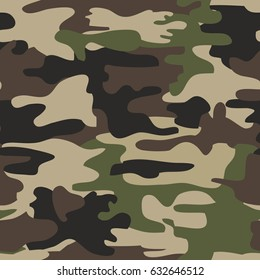 Camouflage seamless pattern, woodland military design, army uniform clothing, hunting and fishing wear style, soldier material, brutal fashion. Vector illustration