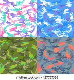 Camouflage seamless spots pattern background set, vector illustration