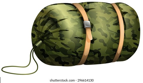 Camouflage sleeping bag on white illustration